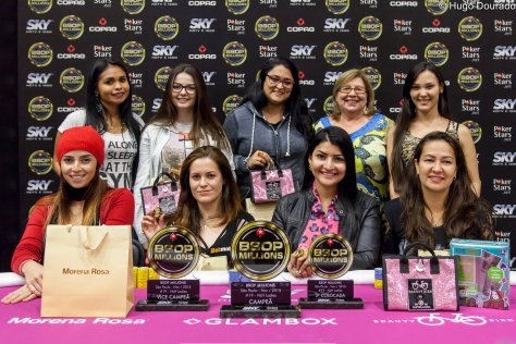 Mesa final do Ladies Event do BSOP Millions 2015. Field record de 164 jogadoras, total arrecado de R$ 61.630, 00. A campeã foi Elide Miyashiro de Abreu que ganhou R$ 14.330,00.